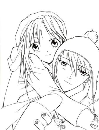 Anime Coloring Pages Romantic Couple