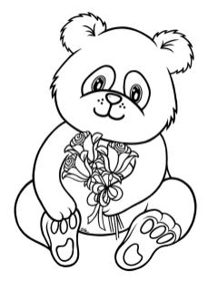 Cute Baby Panda Bear Holding Flowers Coloring Page