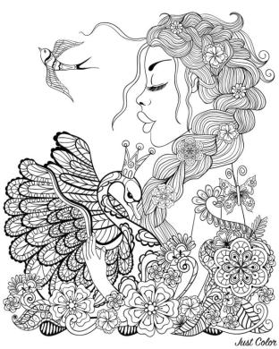 Fairy Swan and Bird Coloring Pages for Adults hv2