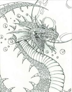 Fantasy Adult Coloring Pages Underwater Dragon