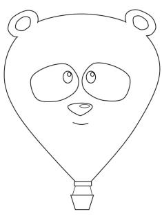 Hot Air Balloon with Panda Face Coloring Pages
