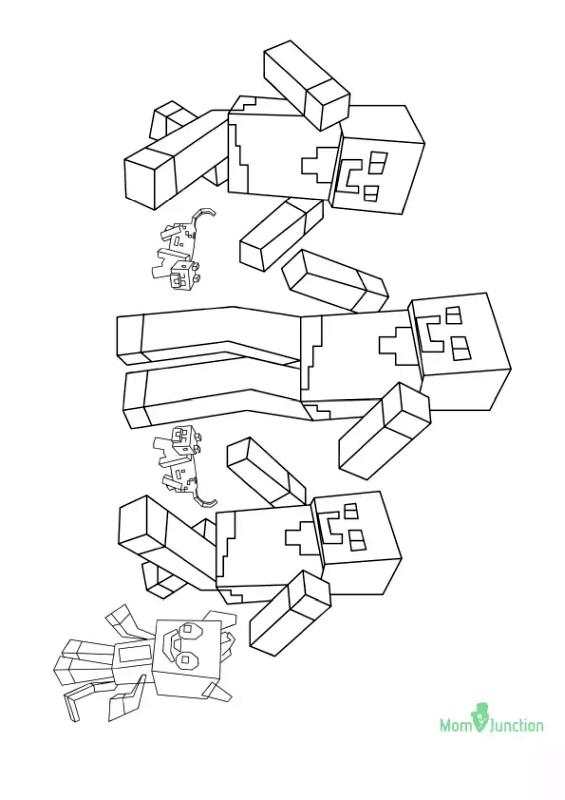 Minecraft Coloring Pages The Mobs of Minecraft