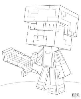 Minecraft Steve with Diamond Armor Coloring Pages st7