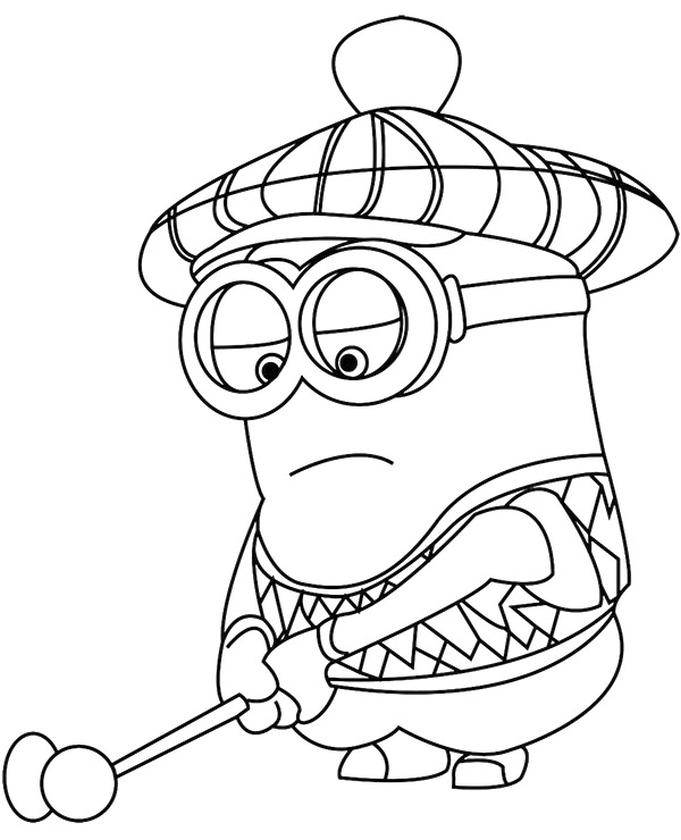 Minion Playing Golf Coloring Pages for Kids
