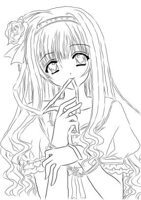 Printable Anime Coloring Pages for Girls Cute Anime Girl
