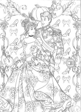 Adult Coloring Pages Disney Cinderella and Her Prince Coloring for Grown Ups