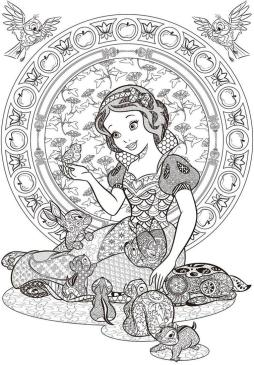 Adult Coloring Pages Disney Detailed Zentangle Art of Snow White