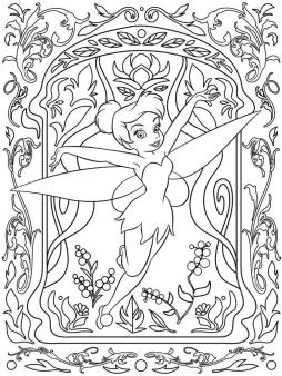 Adult Coloring Pages Disney Difficult Tinkerbell Drawing
