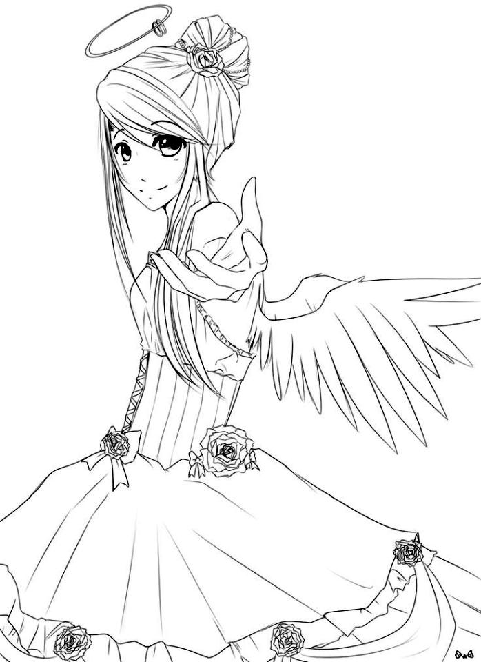 Angel Anime Girl Coloring Pages to Print ag94