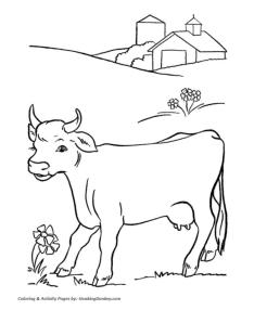 Cow Animal Coloring Pages Cow Living in a Farm