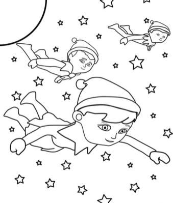 Elf on the Shelf Coloring Pages Free The Elves Flying in Night Sky