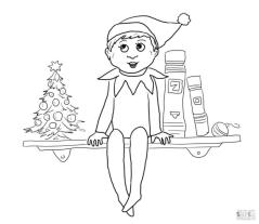 Elf on the Shelf Coloring Pages to Print Baby Elf Sitting on the Shelf