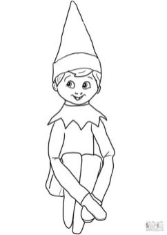 Elf on the Shelf Coloring Pages to Print Christmas Elf on the Shelf