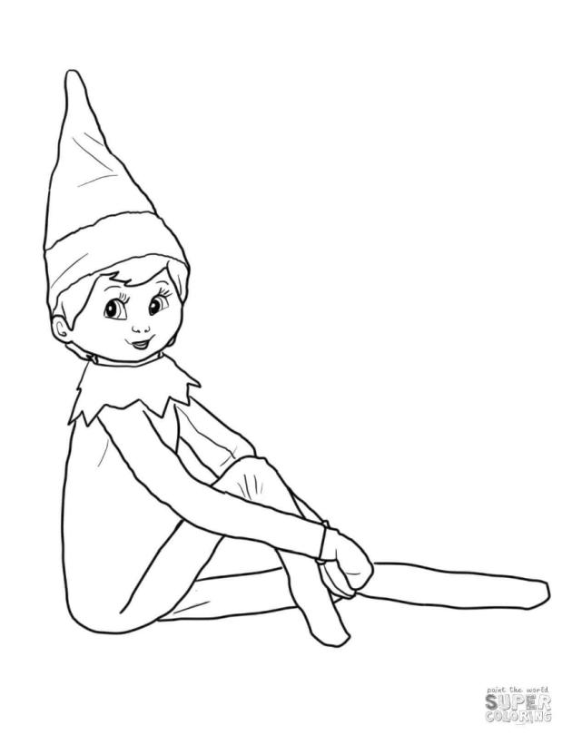 Elf on the Shelf Coloring Pages to Print Cute Elf on the Shelf Girl