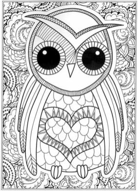 Free Owl Coloring Pages for Adults bo61