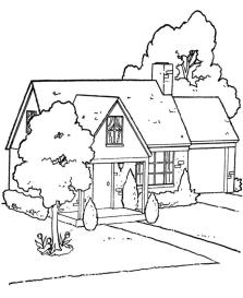House Coloring Pages Free A House Beside a Street