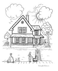 House Coloring Pages Free A House with Many Children