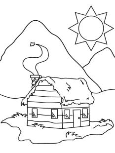 House Coloring Pages Printable Warm House under the Mountain