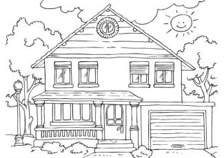 House Coloring Pages for Kids A House with Smiling Sun
