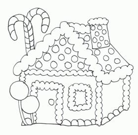 House Coloring Pages for Kids Gingerbread House