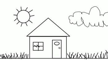 House Coloring Pages for Kids House Simple Printable for Preschoolers