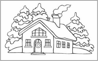 House Coloring Pages for Kids Small House with Chimney