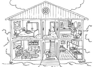 House Coloring Pages for Kids The Inside of a House