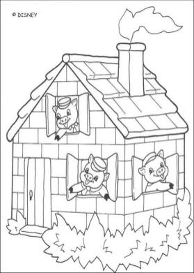 House Coloring Pages to Print Brick House in Three Little Pigs
