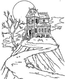 House Coloring Pages to Print Dark and Gloomy House up a Hill