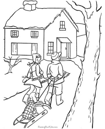 House Coloring Pages to Print Warm House in Winter