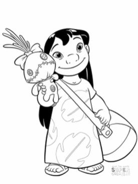 Lilo and Stitch Coloring Pages Lilo Is a Cute Little Girl