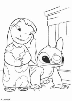 Lilo and Stitch Coloring Pages Lilo Showing Stitch Around