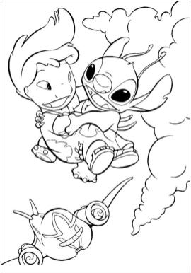 Lilo and Stitch Coloring Pages Lilo and Stitch Flying in the Sky
