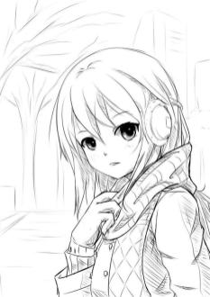 Long Hair Anime Girl Coloring Pages lh86
