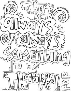 Quote Coloring Pages Easy Something To Be Thankful For