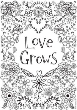 Quote Coloring Pages Printable Love Grows