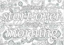 Quote Coloring Pages for Adults Start Over Every Morning