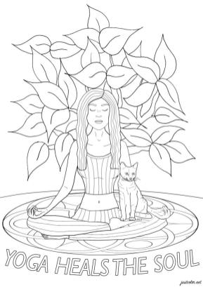 Quote Coloring Pages for Adults Yoga Heals the Soul