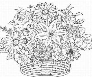 Spring Adult Coloring Pages A Bouquet of Spring Flowers