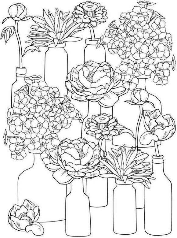 Spring Coloring Pages Printable for Adults Blooming Flowers in Jars