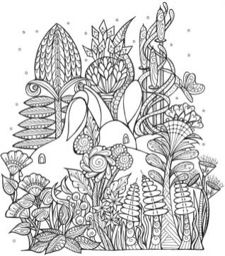 Spring Coloring Pages Printable for Adults Bunnies and Flowers