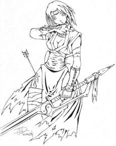 Warrior Anime Girl Coloring Pages Online wr01