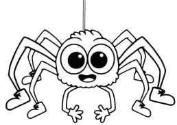 Happy Little Baby Spider Coloring Page for Kids hp41