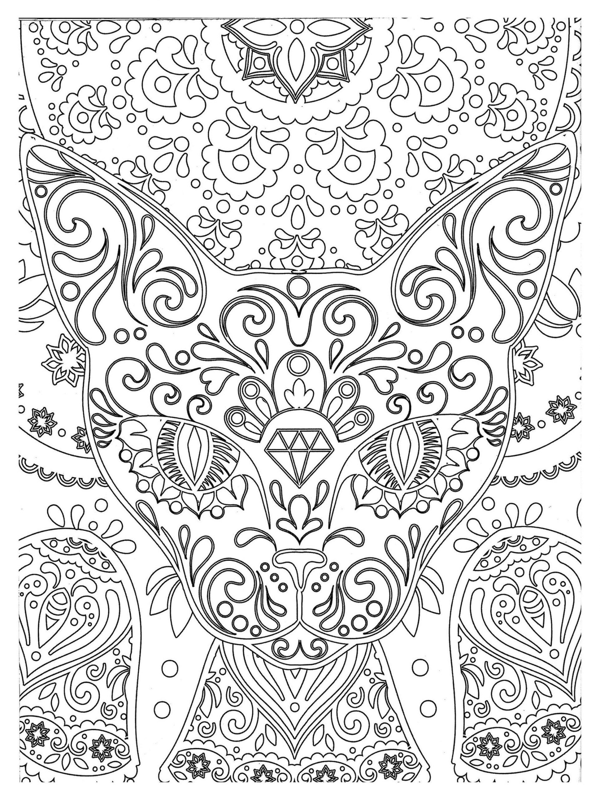 Adult Coloring Pages Abstract Cats Head Zen Art