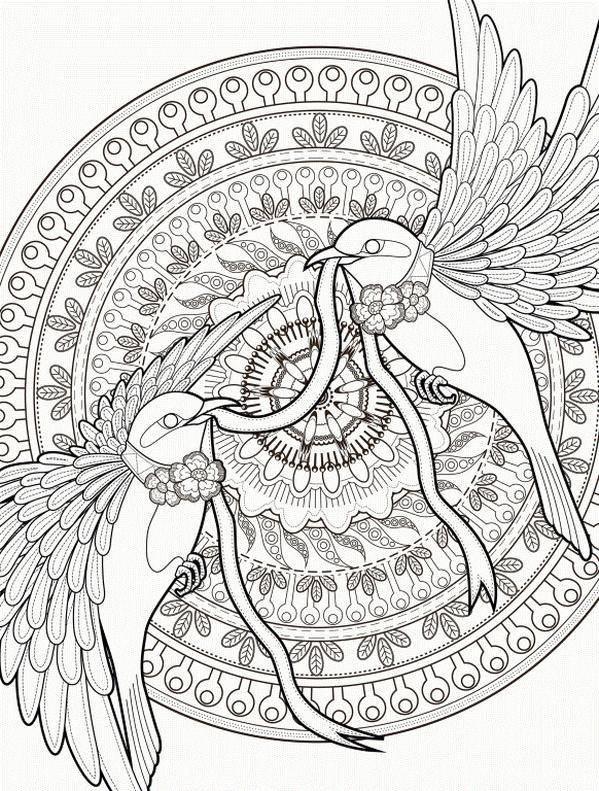 Coloring Pages Cool Designs for Teenagers A Couple of Love Birds Mandala