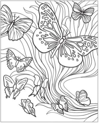 Coloring Pages Cool Designs for Teenagers Flowing Butterflies