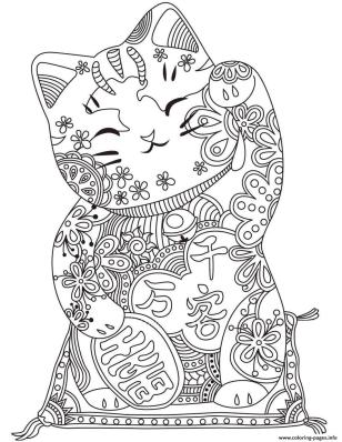Coloring Pages for Teenage Girl Easy Chinase Lucky Cat Zentangle Art