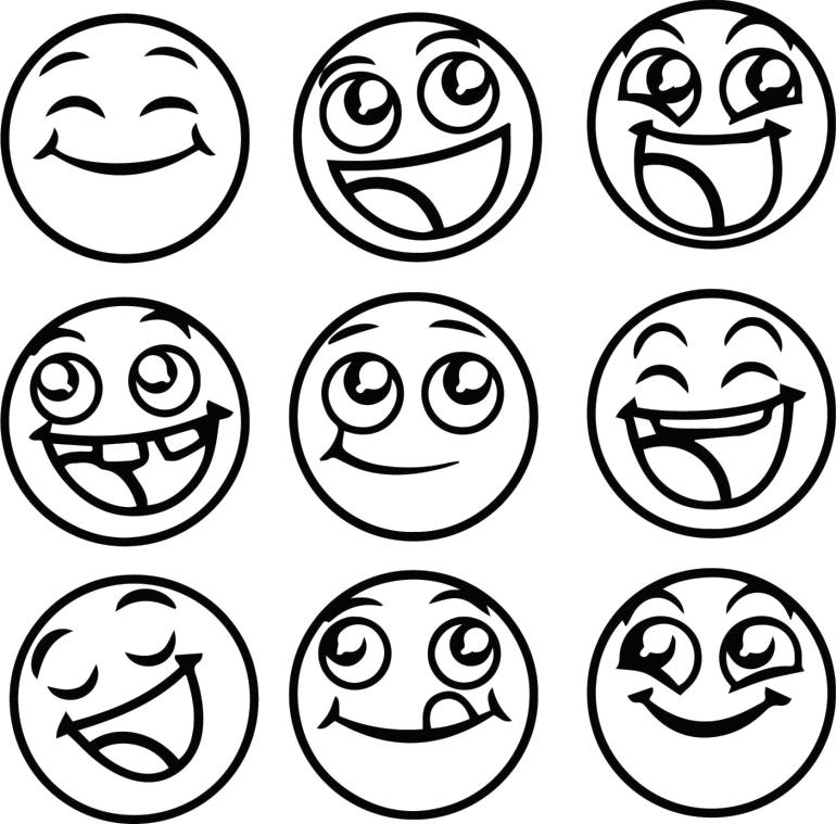Emoji Coloring Pages Black and White Various Happy Faces
