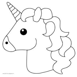 Emoji Coloring Pages Unicorns Head
