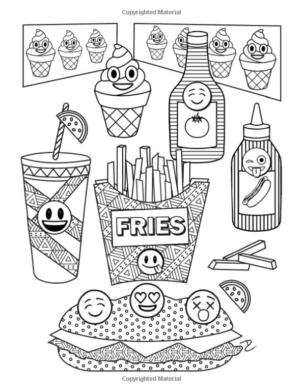 Emoji Coloring Pages for Adults Fast Food Arts